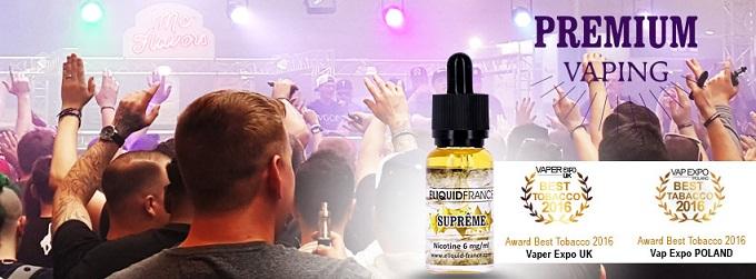 Le E-Liquide SUPREME d`ELIQUID FRANCE a reçu l`Award de la meilleure saveur Tabac sur l`année 2016 en Angleterre et en Pologne sur Top Cigarette Electronique